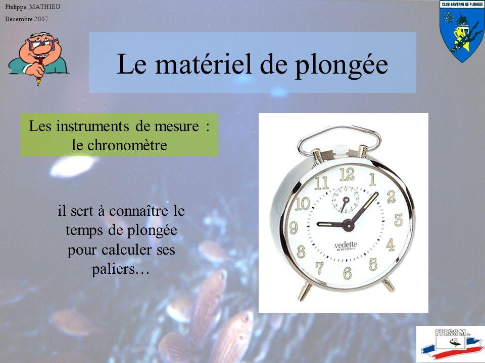 Le matériel de plongée Philippe MATHIEU Décembre 2007 Les instruments de mesure : le profondimètre