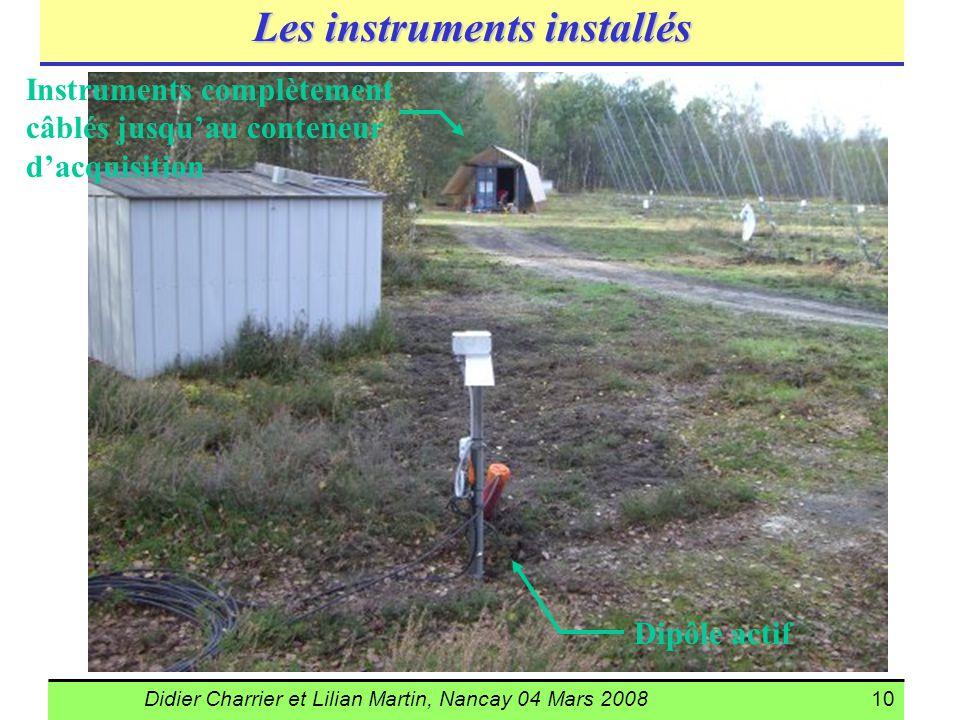 Didier Charrier et Lilian Martin, Nancay 04 Mars 200810 Les instruments installés Dipôle actif Instruments complètement câblés jusquau conteneur dacqu