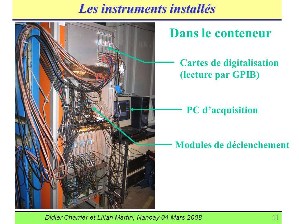 Didier Charrier et Lilian Martin, Nancay 04 Mars 200811 Les instruments installés Dans le conteneur PC dacquisition Cartes de digitalisation (lecture