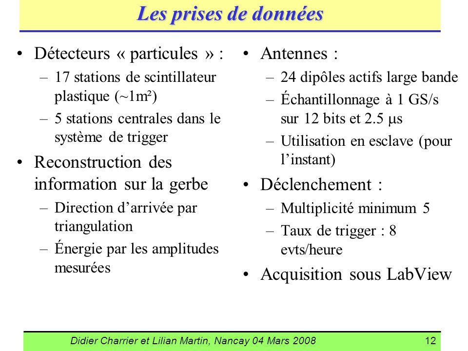 Didier Charrier et Lilian Martin, Nancay 04 Mars 200812 Les prises de données Détecteurs « particules » : –17 stations de scintillateur plastique (~1m