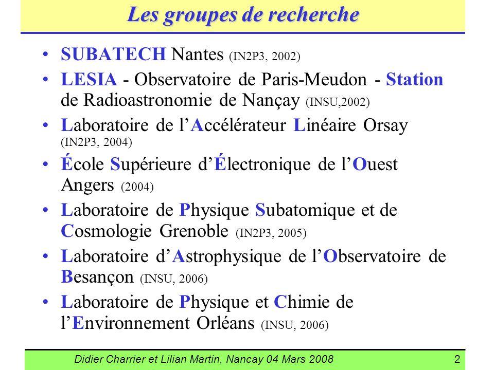 Didier Charrier et Lilian Martin, Nancay 04 Mars 20082 Les groupes de recherche SUBATECH Nantes (IN2P3, 2002) LESIA - Observatoire de Paris-Meudon - S