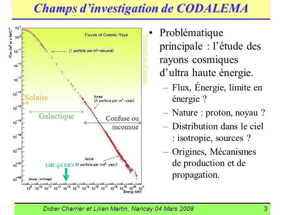 Didier Charrier et Lilian Martin, Nancay 04 Mars 20083 Champs dinvestigation de CODALEMA Problématique principale : létude des rayons cosmiques dultra