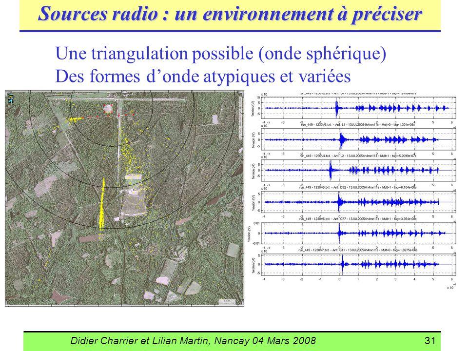 Didier Charrier et Lilian Martin, Nancay 04 Mars 200831 Sources radio : un environnement à préciser Une triangulation possible (onde sphérique) Des fo