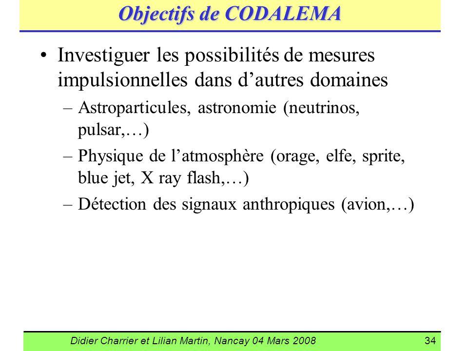 Didier Charrier et Lilian Martin, Nancay 04 Mars 200834 Objectifs de CODALEMA Investiguer les possibilités de mesures impulsionnelles dans dautres dom