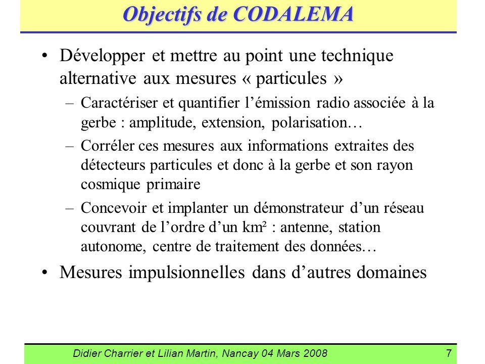 Didier Charrier et Lilian Martin, Nancay 04 Mars 20087 Objectifs de CODALEMA Développer et mettre au point une technique alternative aux mesures « par