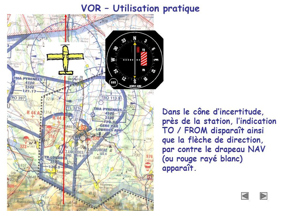VOR – Utilisation pratique Dans le cône dincertitude, près de la station, lindication TO / FROM disparaît ainsi que la flèche de direction, par contre