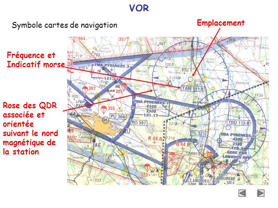 VOR Symbole cartes de navigation Emplacement Fréquence et Indicatif morse Rose des QDR associée et orientée suivant le nord magnétique de la station