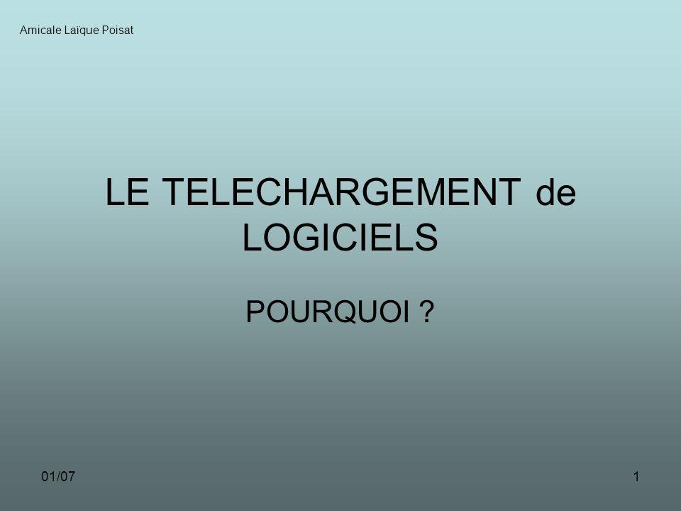01/071 LE TELECHARGEMENT de LOGICIELS POURQUOI ? Amicale Laïque Poisat