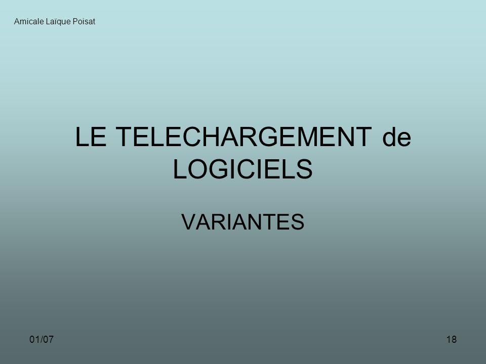 01/0718 LE TELECHARGEMENT de LOGICIELS VARIANTES Amicale Laïque Poisat