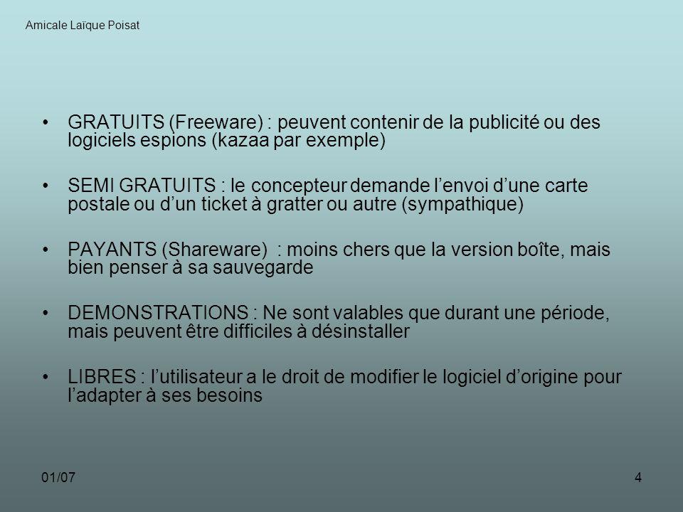 01/074 GRATUITS (Freeware) : peuvent contenir de la publicité ou des logiciels espions (kazaa par exemple) SEMI GRATUITS : le concepteur demande lenvo