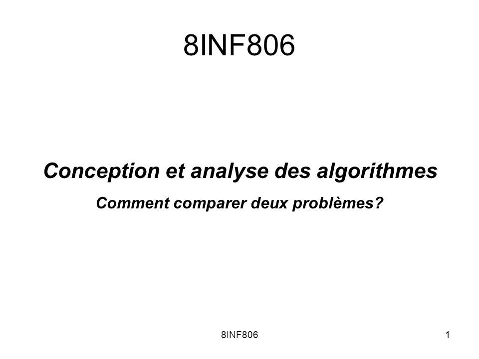 8INF8061 Conception et analyse des algorithmes Comment comparer deux problèmes?