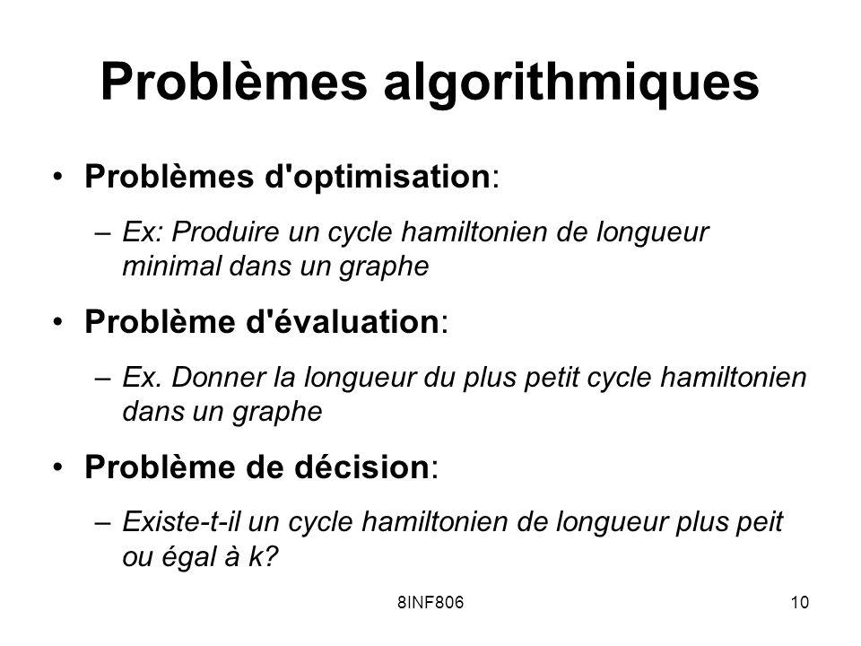8INF80610 Problèmes algorithmiques Problèmes d'optimisation: –Ex: Produire un cycle hamiltonien de longueur minimal dans un graphe Problème d'évaluati