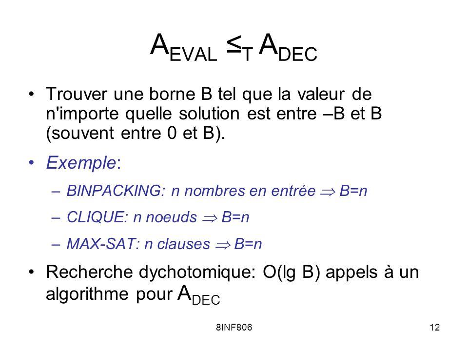 8INF80612 A EVAL T A DEC Trouver une borne B tel que la valeur de n'importe quelle solution est entre –B et B (souvent entre 0 et B). Exemple: –BINPAC