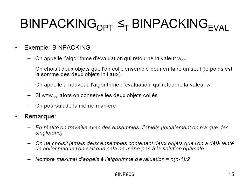 8INF80615 BINPACKING OPT T BINPACKING EVAL Exemple: BINPACKING –On appelle l algorithme d évaluation qui retourne la valeur w opt –On choisit deux objets que l on colle ensemble pour en faire un seul (le poids est la somme des deux objets initiaux).