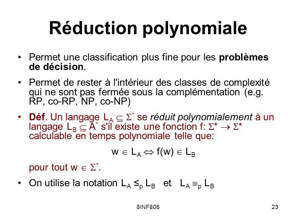 8INF80623 Réduction polynomiale Permet une classification plus fine pour les problèmes de décision. Permet de rester à l'intérieur des classes de comp