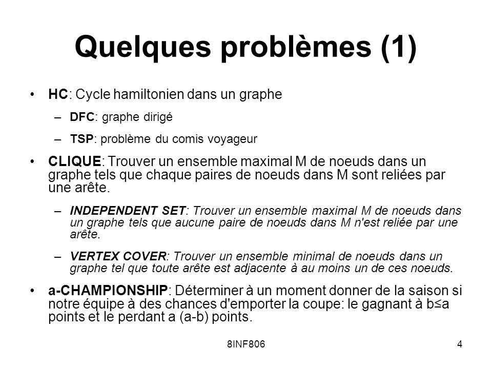 8INF8064 Quelques problèmes (1) HC: Cycle hamiltonien dans un graphe –DFC: graphe dirigé –TSP: problème du comis voyageur CLIQUE: Trouver un ensemble