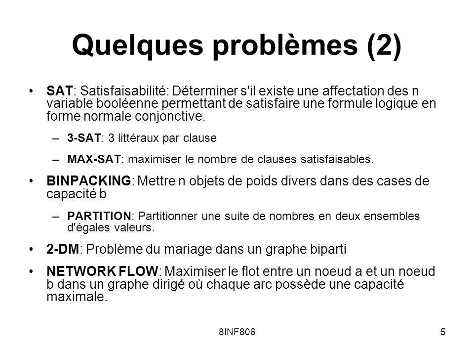 8INF8065 Quelques problèmes (2) SAT: Satisfaisabilité: Déterminer s il existe une affectation des n variable booléenne permettant de satisfaire une formule logique en forme normale conjonctive.