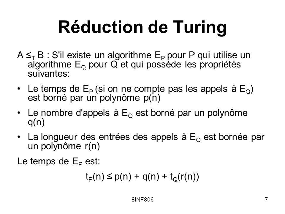 8INF8067 Réduction de Turing A T B : S il existe un algorithme E P pour P qui utilise un algorithme E Q pour Q et qui possède les propriétés suivantes: Le temps de E P (si on ne compte pas les appels à E Q ) est borné par un polynôme p(n) Le nombre d appels à E Q est borné par un polynôme q(n) La longueur des entrées des appels à E Q est bornée par un polynôme r(n) Le temps de E P est: t P (n) p(n) + q(n) + t Q (r(n))