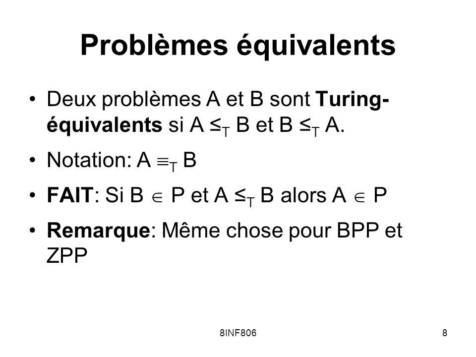 8INF8068 Problèmes équivalents Deux problèmes A et B sont Turing- équivalents si A T B et B T A. Notation: A T B FAIT: Si B P et A T B alors A P Remar