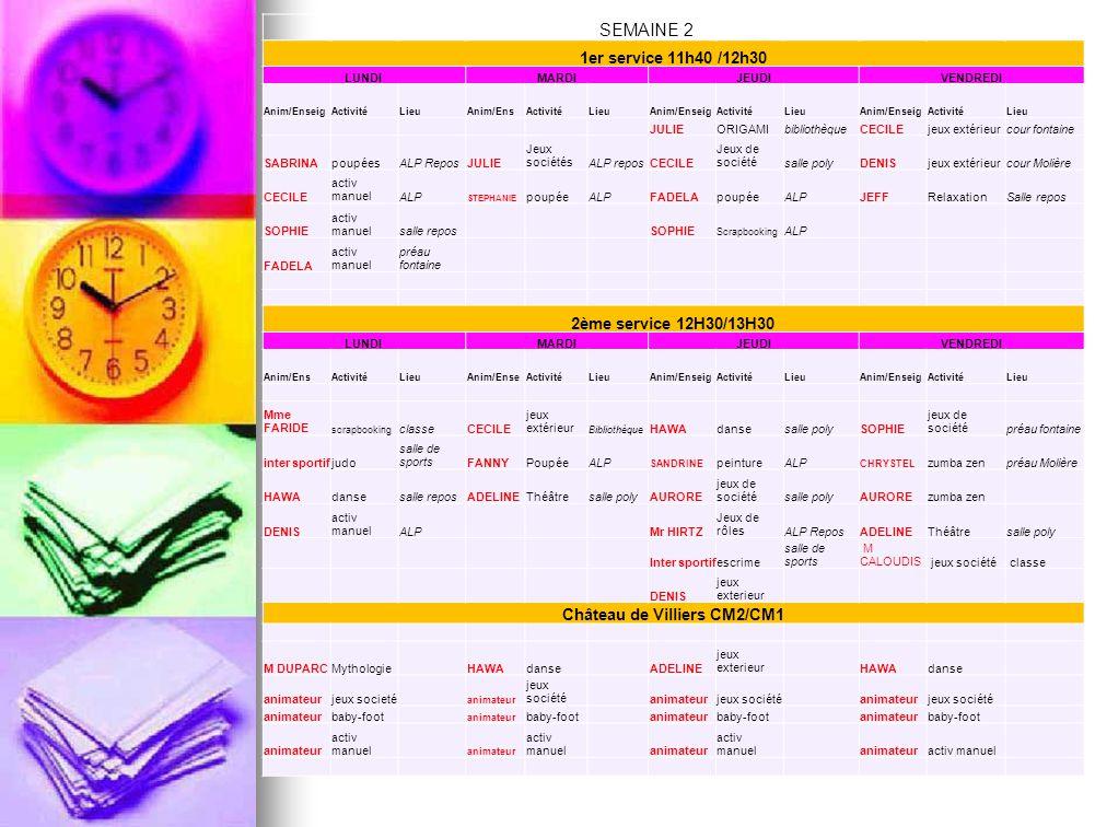 SEMAINE 2 1er service 11h40 /12h30 LUNDIMARDIJEUDIVENDREDI Anim/EnseigActivitéLieuAnim/EnsActivitéLieuAnim/EnseigActivitéLieuAnim/EnseigActivitéLieu J