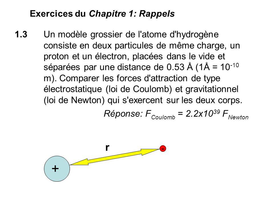 1.3 Un modèle grossier de l atome d hydrogène consiste en deux particules de même charge, un proton et un électron, placées dans le vide et séparées par une distance de 0.53 Å (1Å = 10 -10 m).