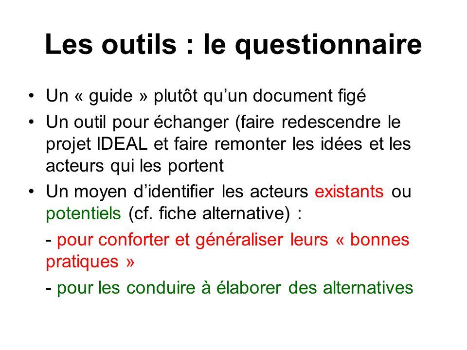 Les outils : le questionnaire Un « guide » plutôt quun document figé Un outil pour échanger (faire redescendre le projet IDEAL et faire remonter les i
