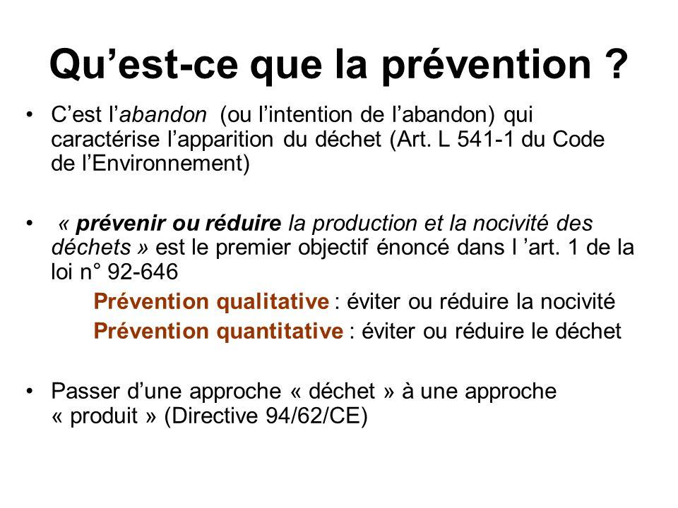 Quest-ce que la prévention ? Cest labandon (ou lintention de labandon) qui caractérise lapparition du déchet (Art. L 541-1 du Code de lEnvironnement)