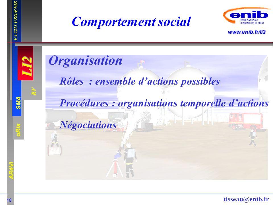 LI2 oRis ARéVi 18 RV SMA www.enib.fr/li2 EA 2215 UBO/ENIB tisseau@enib.fr Comportement social Organisation Rôles : ensemble dactions possibles Procédu