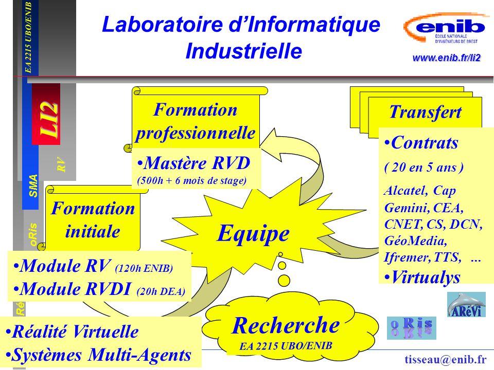 LI2 oRis ARéVi 2 RV SMA www.enib.fr/li2 EA 2215 UBO/ENIB tisseau@enib.fr Formation professionnelle Transfert Formation initiale Equipe Recherche EA 22