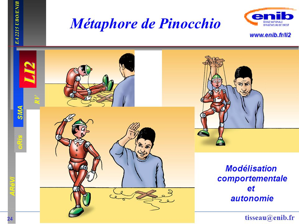 LI2 oRis ARéVi 24 RV SMA www.enib.fr/li2 EA 2215 UBO/ENIB tisseau@enib.fr Métaphore de Pinocchio Modélisation comportementale et autonomie