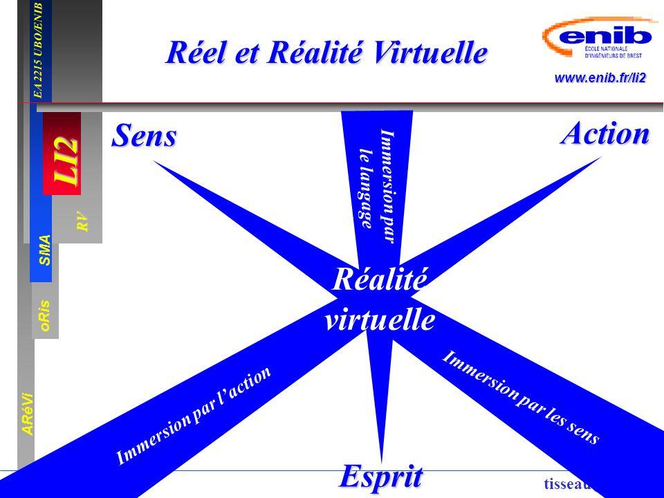 LI2 oRis ARéVi 5 RV SMA www.enib.fr/li2 EA 2215 UBO/ENIB tisseau@enib.fr Réel et Réalité Virtuelle Action Sens Esprit Réalité virtuelle Immersion par