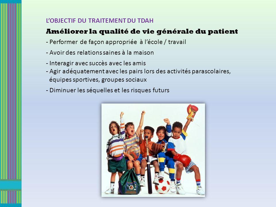 LOBJECTIF DU TRAITEMENT DU TDAH Améliorer la qualité de vie générale du patient - Performer de façon appropriée à lécole / travail - Avoir des relatio