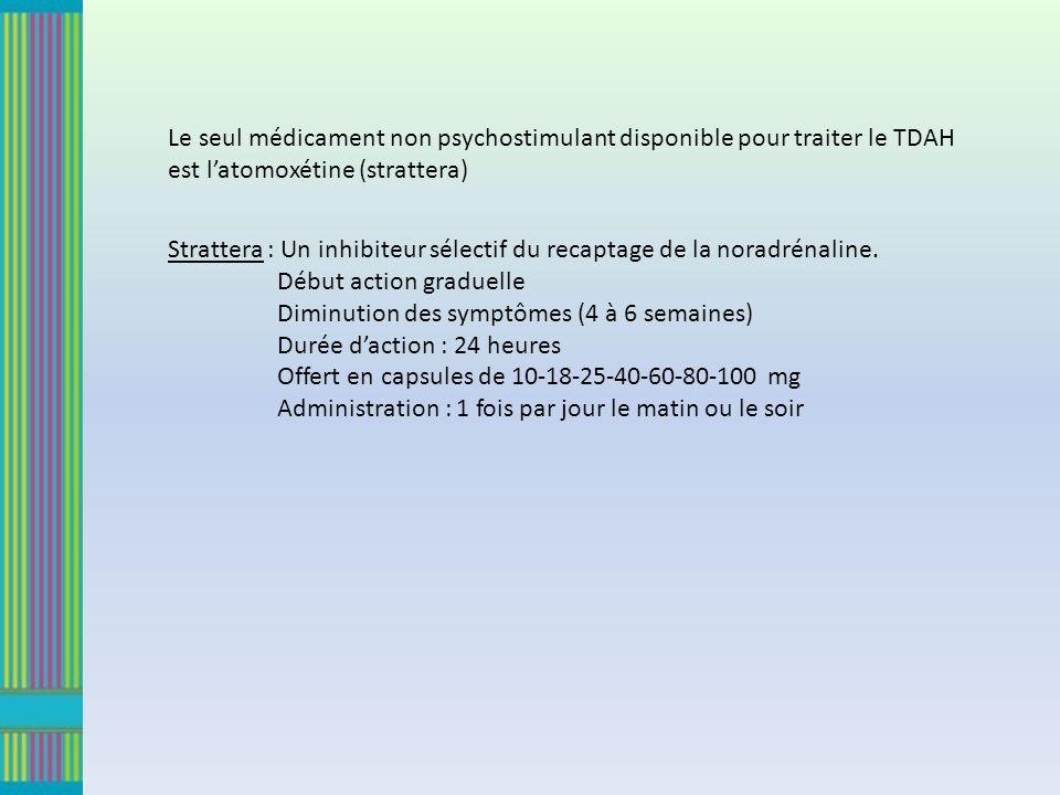 Le seul médicament non psychostimulant disponible pour traiter le TDAH est latomoxétine (strattera) Strattera : Un inhibiteur sélectif du recaptage de