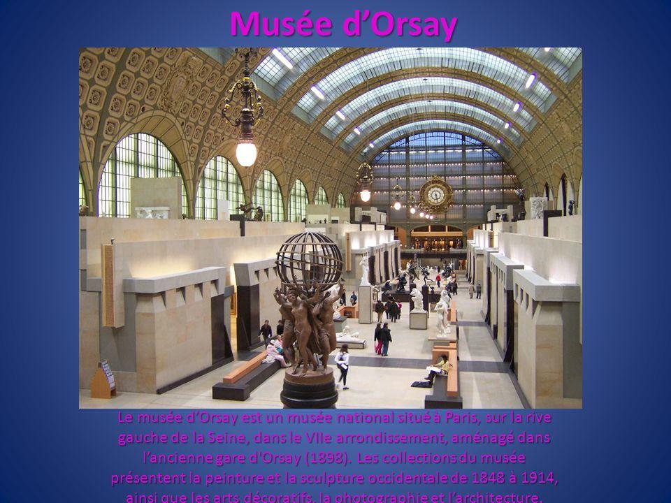 Musée dOrsay Le musée dOrsay est un musée national situé à Paris, sur la rive gauche de la Seine, dans le VIIe arrondissement, aménagé dans lancienne
