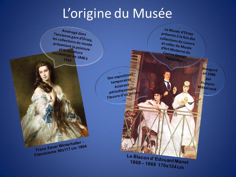 Lorigine du Musée Aménagé dans lancienne gare dOrsay, les collections du musée présentent la peinture et la sculpture occidentale de 1848 à 1914 … … D