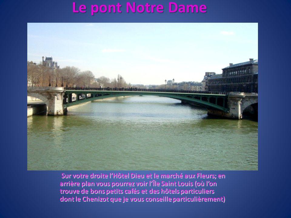 Le pont Notre Dame Sur votre droite lHôtel Dieu et le marché aux Fleurs; en arrière plan vous pourrez voir lÎle Saint Louis (où lon trouve de bons pet