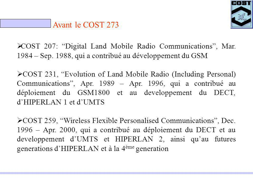 Avant le COST 273 COST 207: Digital Land Mobile Radio Communications, Mar.
