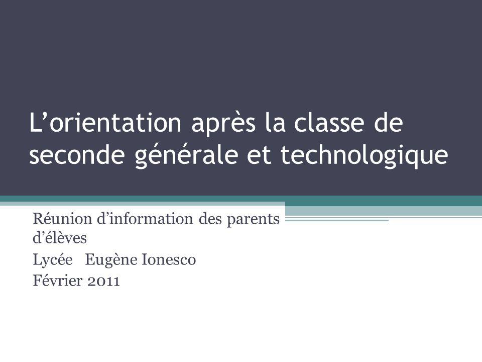 Lorientation après la classe de seconde générale et technologique Réunion dinformation des parents délèves Lycée Eugène Ionesco Février 2011