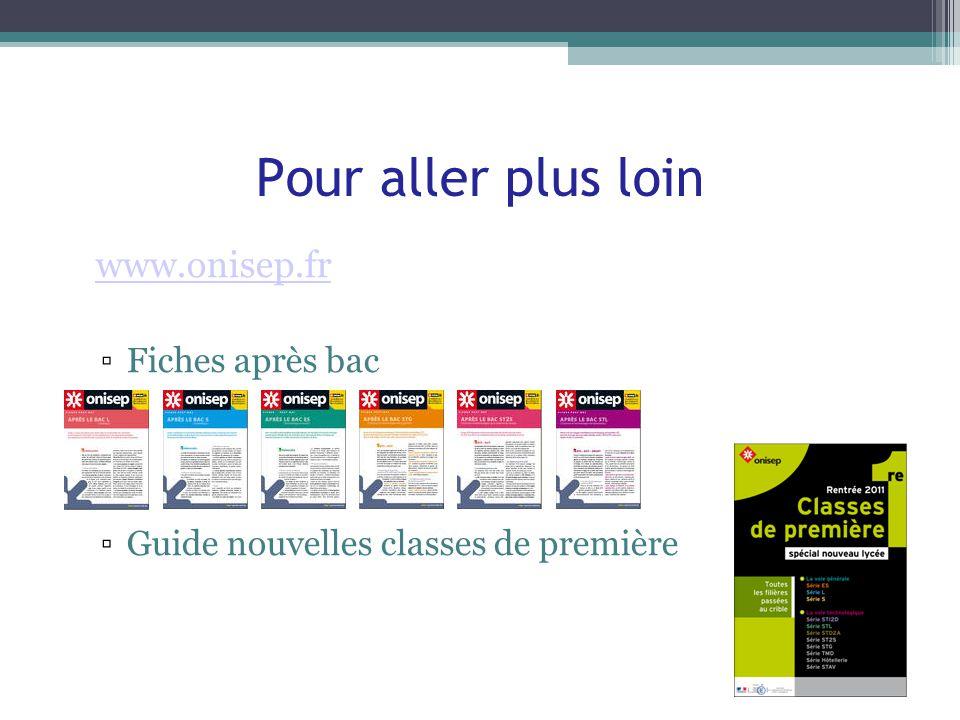 Pour aller plus loin www.onisep.fr Fiches après bac Guide nouvelles classes de première