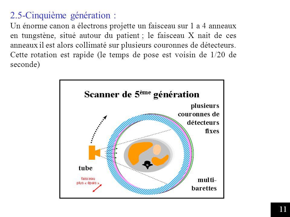 11 2.5-Cinquième génération : Un énorme canon a électrons projette un faisceau sur 1 a 4 anneaux en tungstène, situé autour du patient ; le faisceau X nait de ces anneaux il est alors collimaté sur plusieurs couronnes de détecteurs.