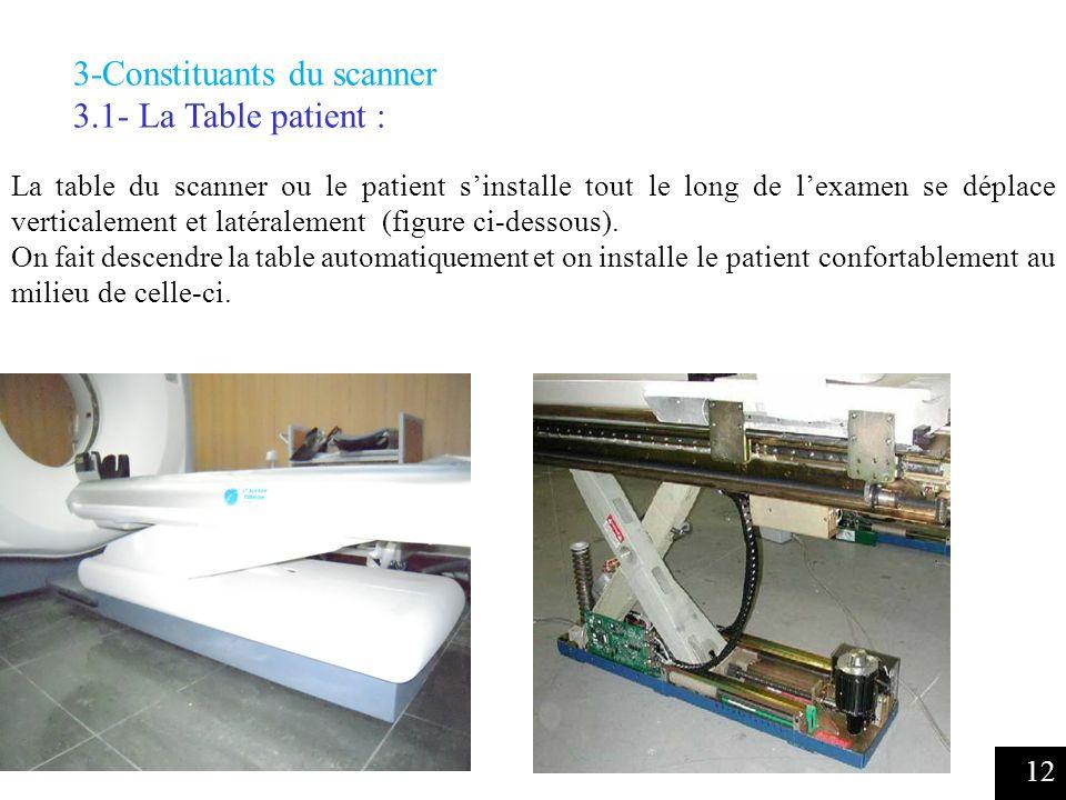 12 3-Constituants du scanner 3.1- La Table patient : La table du scanner ou le patient sinstalle tout le long de lexamen se déplace verticalement et latéralement (figure ci-dessous).