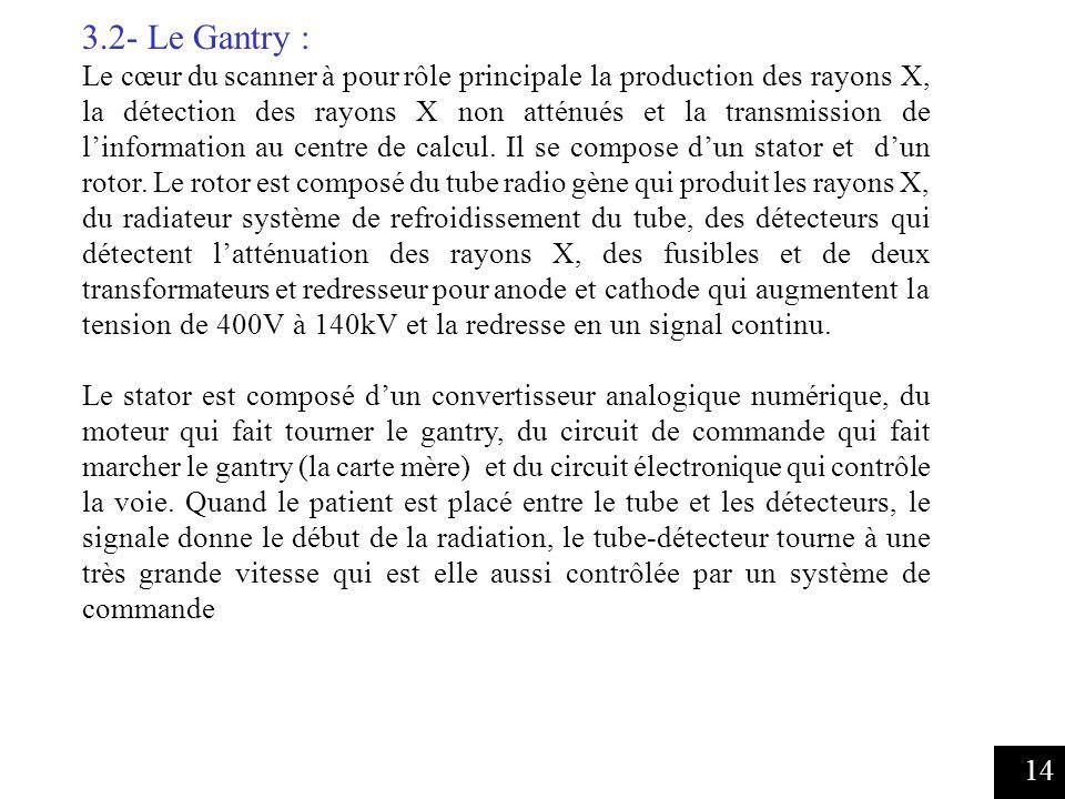 14 3.2- Le Gantry : Le cœur du scanner à pour rôle principale la production des rayons X, la détection des rayons X non atténués et la transmission de linformation au centre de calcul.