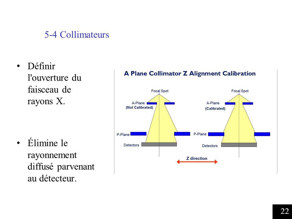 22 5-4 Collimateurs Définir l ouverture du faisceau de rayons X.