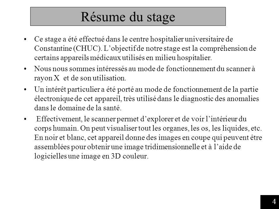 Résume du stage Ce stage a été effectué dans le centre hospitalier universitaire de Constantine (CHUC).
