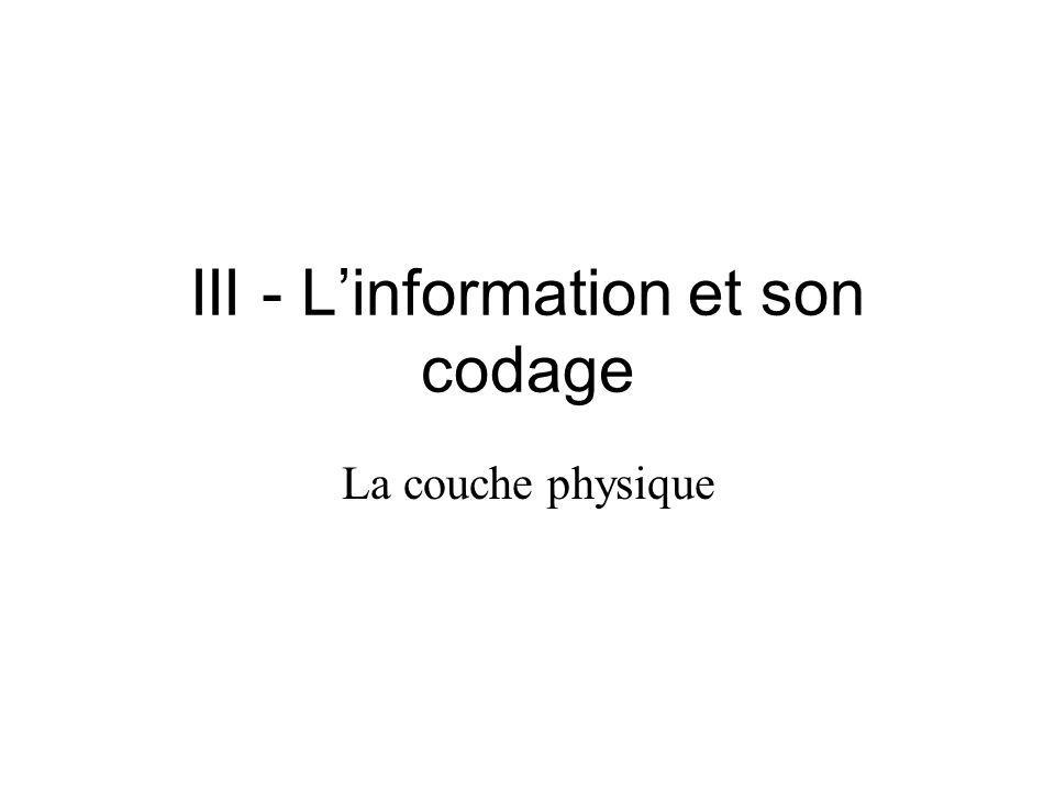 III - Linformation et son codage La couche physique