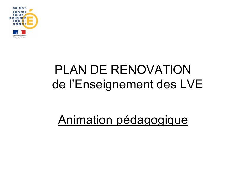 PLAN DE RENOVATION de lEnseignement des LVE Animation pédagogique