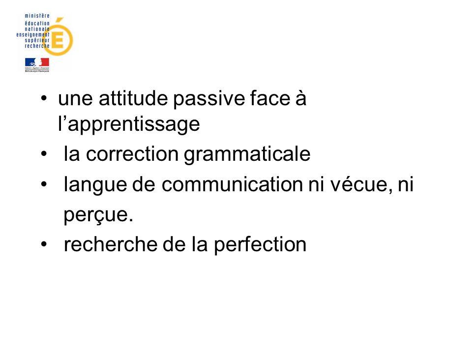 une attitude passive face à lapprentissage la correction grammaticale langue de communication ni vécue, ni perçue. recherche de la perfection