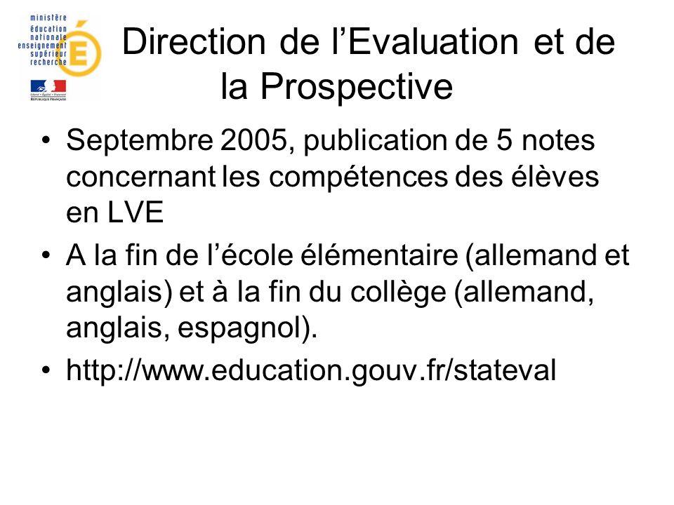 Direction de lEvaluation et de la Prospective Septembre 2005, publication de 5 notes concernant les compétences des élèves en LVE A la fin de lécole é