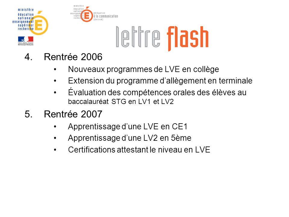 4.Rentrée 2006 Nouveaux programmes de LVE en collège Extension du programme dallègement en terminale Évaluation des compétences orales des élèves au b