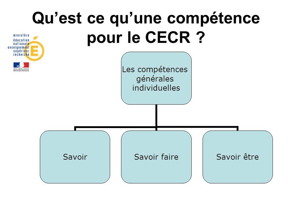 Quest ce quune compétence pour le CECR ? Les compétences générales individuelles SavoirSavoir faireSavoir être
